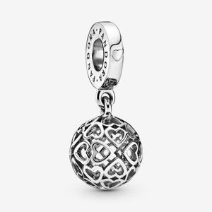 🌸Pandora Openwork Heart Ball Dangle Charm